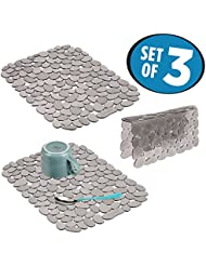 mDesign Decorative Kitchen Sink Protector Mat Pad Set, Quick Draining - Use In Sinks to Protect Surfaces, Dishes - Modern Pebble Design - Includes 1 Sink Saddle, 2 Large Sink Mats - Set of 3, Graphite