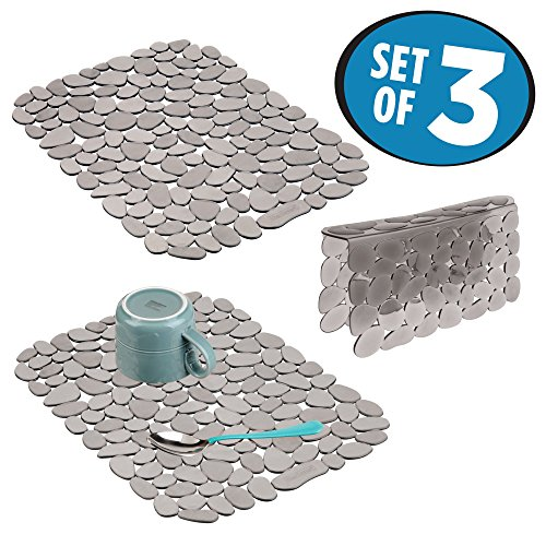 mDesign Decorative Kitchen Sink Protector Mat Pad Set, Quick Draining - Use In Sinks to Protect Surfaces, Dishes - Modern Pebble Design - Includes 1 Sink Saddle, 2 Large Sink Mats - Set of 3, Graphite Pebble Design