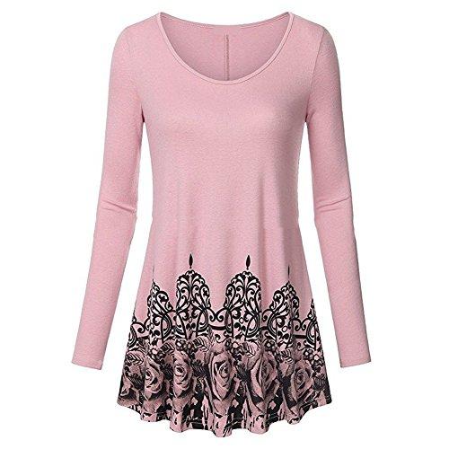 Juleya Camicia donna Mini abiti a maniche lunghe Camicette donna Casual T Shirt Fiori Stampa Top larghi sciolti Tops Work Casual Rosa