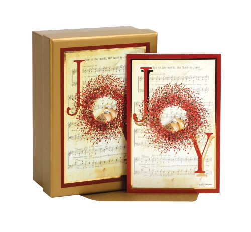 Joy Box (C.R. Gibson Holiday Keepsake Card, Joy Berry Wreath, Box of 15)