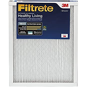 Filtrete MPR 1900 16 x 25 x 1 Healthy Living Ultimate Allergen Reduction AC Furnace Air Filter, Guaranteed Airflow up to 90 days, Delivers Cleaner Air Throughout Your Home, 2-Pack