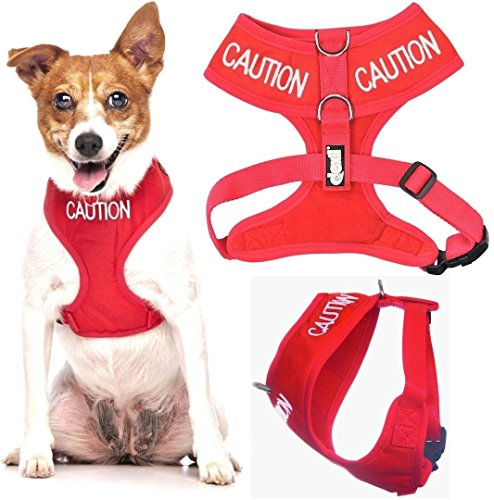 Caution Red Color Coded Waterproof Padded Adjustable Non Pull Front and Back Ring Alert Warning Small Vest Dog Harness Prevents Accidents By Warning Others of Your Dog in Advance