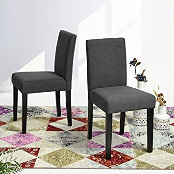 Grey Fabric Side Parson Chair Wood Legs Cushion Seat And Back For Dining  Room Accent Modern
