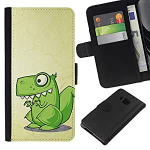 All Phone Most Case / Oferta Especial Cáscara Funda de cuero Monedero Cubierta de proteccion Caso / Wallet Case for HTC One M7 // Dinosaur Green Cute Reptile Drawing Art