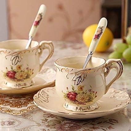 8 Piezas creativo europeo Inglaterra Mano de Lujo pintado de rojo y oro de la flor de Rose de marfil de la porcelana de caf/é de cer/ámica Set Juego de t/é para la boda