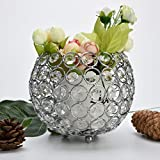 Hp95 Crystal Candle Holders/Wedding Candelabra Tealight Candle Holder for Dining Room Coffee Table Home Decorations Valentines Day Wedding Centerpieces Gifts (L, Silver)