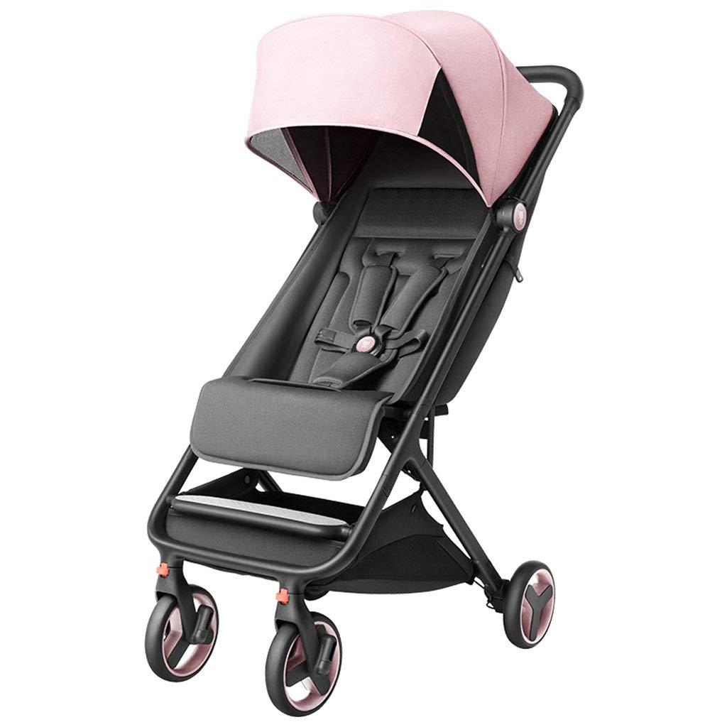 輝く高品質な ベビーカー - 折りたたみ式トロリーの高い風景が座っていることができますし、平らな四輪ショックアブソーバープッシュ傘 B07QR365JK (色 - : ピンク) (色 ピンク B07QR365JK, ナカガワク:e4285083 --- a0267596.xsph.ru