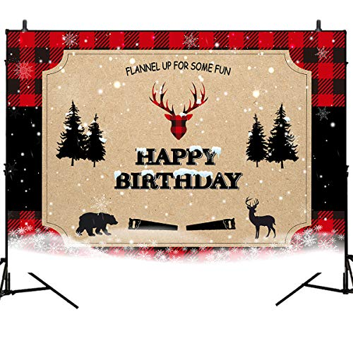 Mehofoto Lumberjack Birthday Backdrop Snowing Winter Wonderland Background Buffalo Plaid Birthday Party Banner Decoration 7x5ft Rustic Tree Deer Bear Photoshoot Backdrops for Children Kids