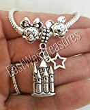 EWT 3PC Mickey minnie Mouse ears Disney castle key Charm Pendant for fit all brand & designer charm bracelets and similar chains