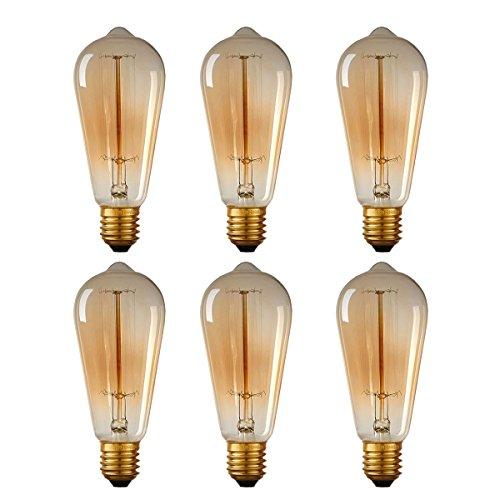 Watt Bulb Box - 40W Edison Style Light Bulbs ST64 13 Filament Warm Light ETL Listed 6 Packs