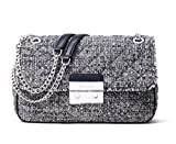 Michael Kors Women's Sloan Boucle Tweed Quilted Shoulder Bag Admial Navy Large