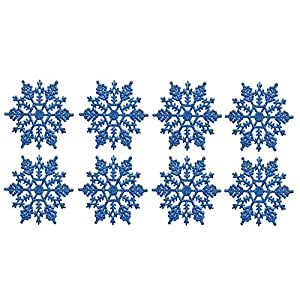 wish you have a nice day Plastic Snowflake Ornaments,5inch 24pcs Sparkling White Iridescent Glitter Snowflake Ornaments on String Hanger Decorating, Crafting,Wedding Embellishing 34