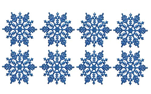 Plastic Snowflake Ornaments set of tiny 24pcs Sparkling blue Iridescent Glitter Snowflake Ornaments on String Hanger for Decorating, Crafting and Embellishing (3inch, blue) -