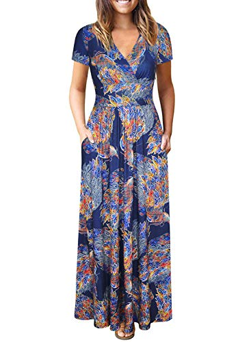 Womens Short Sleeve Empire Waist Summer Floral Maxi Dresses with Pockets (Peacock Floral, S)