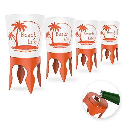 - Beach Vacation Accessories: Beach Drink Cup Holder Sand with Bottle Opener and Spikes (4 Pack) | Spike Coaster Cups - Supplies Gear Essentials Stuff Items Necessities Must Haves for Adults Women Men