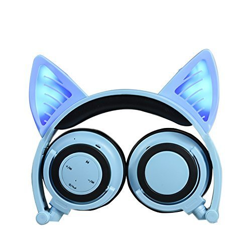 Headphones with Bluetooth &Microphone Wireless/Wired Over Ear Cat Ear Headphones Flashing Glowing Headphones Foldable with LED Flash light for iPhone 7/6S/iPad,Android,Mp3,Mp4 player,Gifts for kids. Review