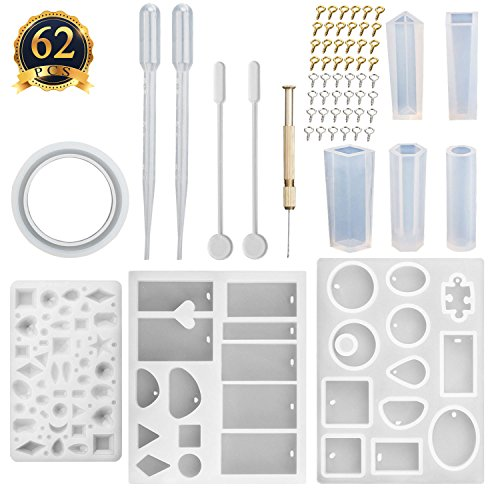 SUBANG 9 Pack Jewelry Casting Molds Silicone Resin Jewelry Molds with 48 Screw Eye Pins, 2 Plastic Stirrers, 1 Hand Twist Drill and 2 Plastic Droppers