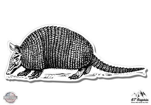Armadillo Drawing - Vinyl Sticker Waterproof Decal GT Graphics