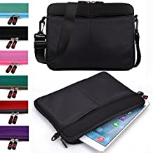 Kroo Tablet Sleeve Messenger Bag with Shoulder Strap Neoprene Protective Cover Case (Classic Black)