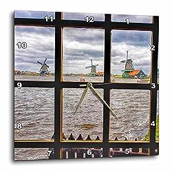3dRose Danita Delimont - Windmills - Netherlands, Zaandam, Zaanse Schans windmills on a cloudy day - 15x15 Wall Clock (dpp_277744_3)