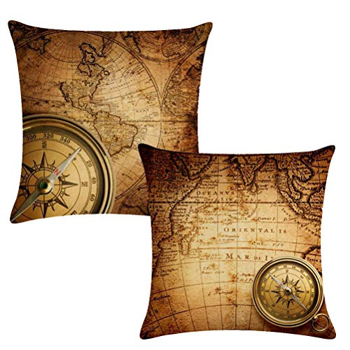 7ColorRoom Set of 2 Vintage World Map Pillow Covers Navigation Compass Square Decorative Throw Pillow Case Cotton Linen Cushion Cover 18