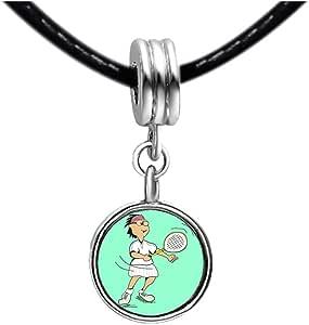 Chicforest Silver Plated Olympics Badminton cartoon Photo Light Amethyst Crystal June Birthstone Flower dangle Charm Beads Fits Pandora Charms