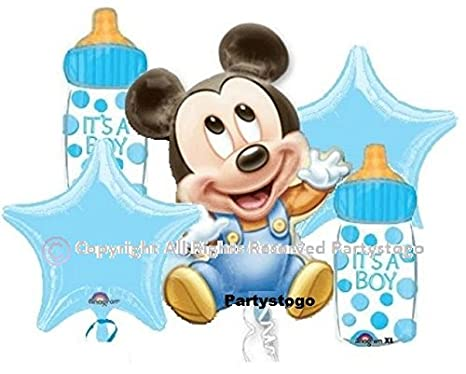 MICKEY MOUSE BABY SHOWER BALLOONS BOUQUET DECORATIONS SUPPLIES (2 BOUQUETS  INCLUDED, 10 BALLOONS)