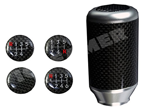 ICBEAMER Drifting Styles [Color Silver] Aluminum and Real Carbon Fiber Manual Gear Stick Shift Knob 5 6 Speeds pattern Saab Gear Knob