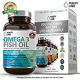 Purity Labs Burpless Fish Oil - EPA & DHA Omega 3 Supplement - With 915mg EPA & 630mg DHA Triple Strength Omega-3