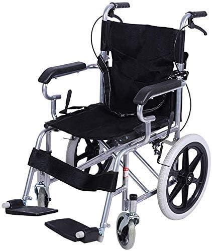 Hyy-yy De acero silla de ruedas silla de ruedas ancianos discapacitados Travel, luz plegable de autopropulsión silla de ruedas ABS antideslizante Barandilla plegable Tamaño 25 * 70 * 72cm (Color: Negr
