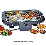 Inditradition Electric Barbecue Grill Tandoor Roaster, 2000W , Adjustable Temperature, Flat Chrome Grill, Black