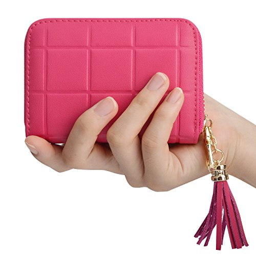 Leather Credit Card Holder with Zipper Credit Card Wallet for Travel RFID Credit Card Holder for Women Wallet Rose Red