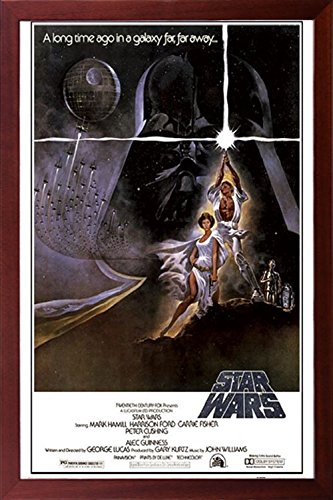amazon com framed star wars poster 24x36 poster in real wood walnut