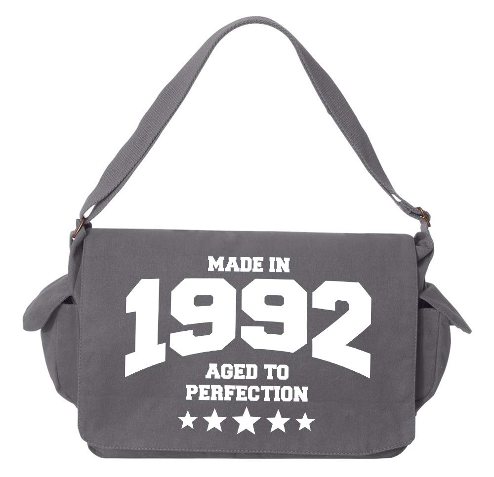 Tenacitee Athletic Aged to Perfection 1992 Grey Brushed Canvas Messenger Bag