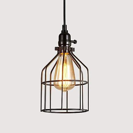 WSYYWD Lámpara de jaula de hierro Lámpara de techo ajustable ...