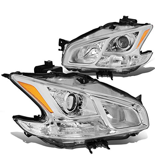 For 09-14 Nissan Maxima Pair Chrome Housing Amber Corner Projector ()