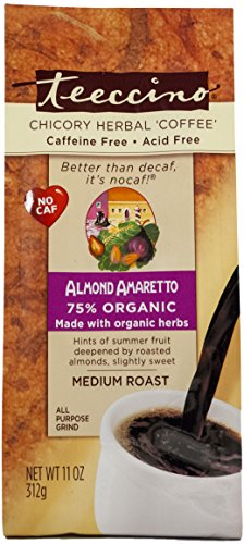 Teeccino Almond Amaretto Chicory Herbal Coffee Alternative, Caffeine Free, Acid Free, 11 (Amaretto Tea Bags)