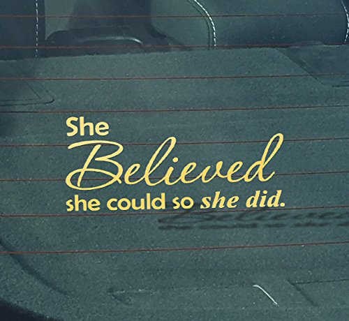 GS2031 She Believed She Could So She Did Gold Vinyl Wall Decal -