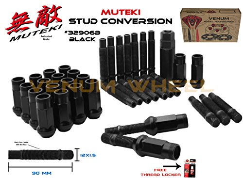 Venum wheel accessories Black SR48 Muteki 32906B Lug Nuts + 12x1.5 90mm Long Black Stud Conversion Kit for BMW Vehicles M12x1.5 (Replaces Lug - Wheel Replace Studs