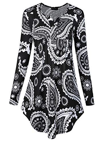 (Acloth Floral Henley Shirt Women Printed Long Sleeve Knitwear Ladies Plain Tee Button V Neck Casual Paisley Blouses Ruched Trendy Tops Drape Knitted Pleat Oversize Loose Tunic White-Black M)