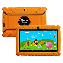 """Holiday Special! Contixo Kid Safe 7"""" Hd Tablet Wifi 8gb Bluetooth, Free Games, Kids-place Parental Control W Kid-proof Case (Orange) - Best Gift For Christmas"""