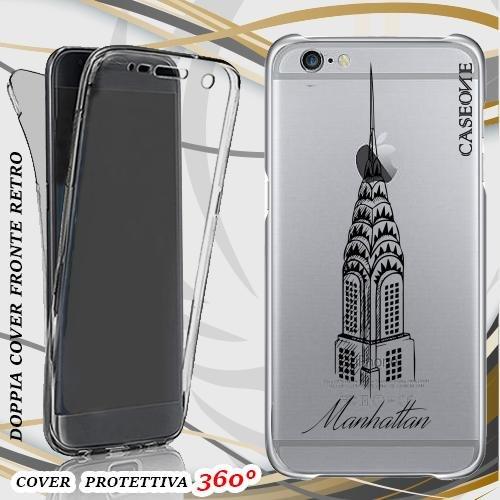 CUSTODIA COVER CASE MANHATTAN CITY PER IPHONE 6 PLUS FRONT BACK TRASPARENTE