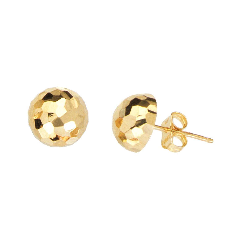 Stud Earrings, 14Kt Gold Half Ball Crystal Dc Stud Earring
