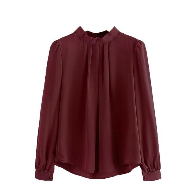 Blusa Mujer de BaZhaHei,Camisas Las Mujeres doblan la Camisa de Manga Larga Floja Ocasional