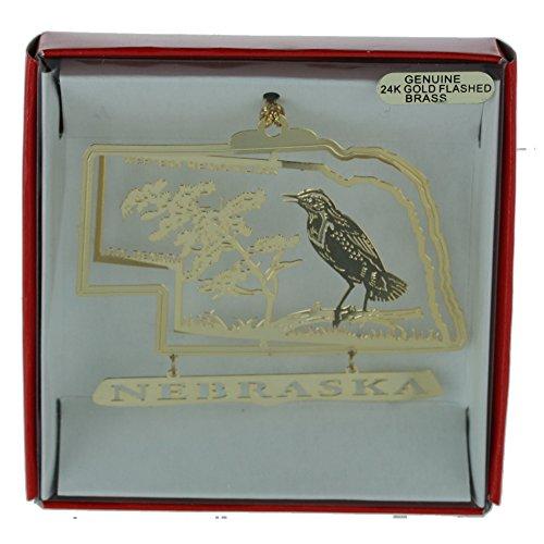 Nebraska State Bird Flower (Nebraska State Nations Treasures Bird & Flower Christmas ORNAMENT Souvenir Gift)