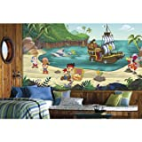 RoomMates Jake and the Never Land Pirates XL Chair Rail Prepasted Mural 6' x 10.5' - Ultra-strippable