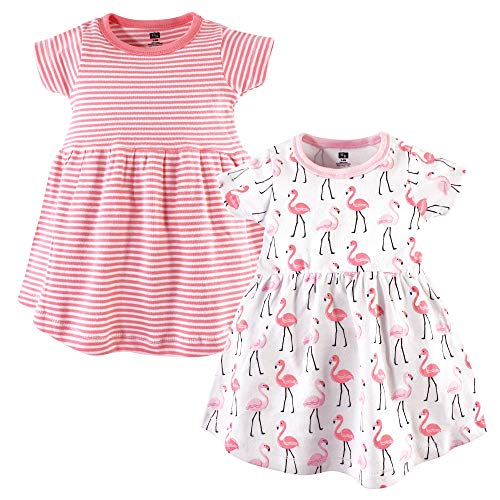 Hudson Baby Baby Girls Cotton Dress, 2 Pack, Flamingos, 9-12 Months -