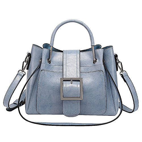 Bag Bag Ladies Large Blue Messenger Bag FLHT Leather Wild Fashion Handbag Shoulder Capacity 1d6qp