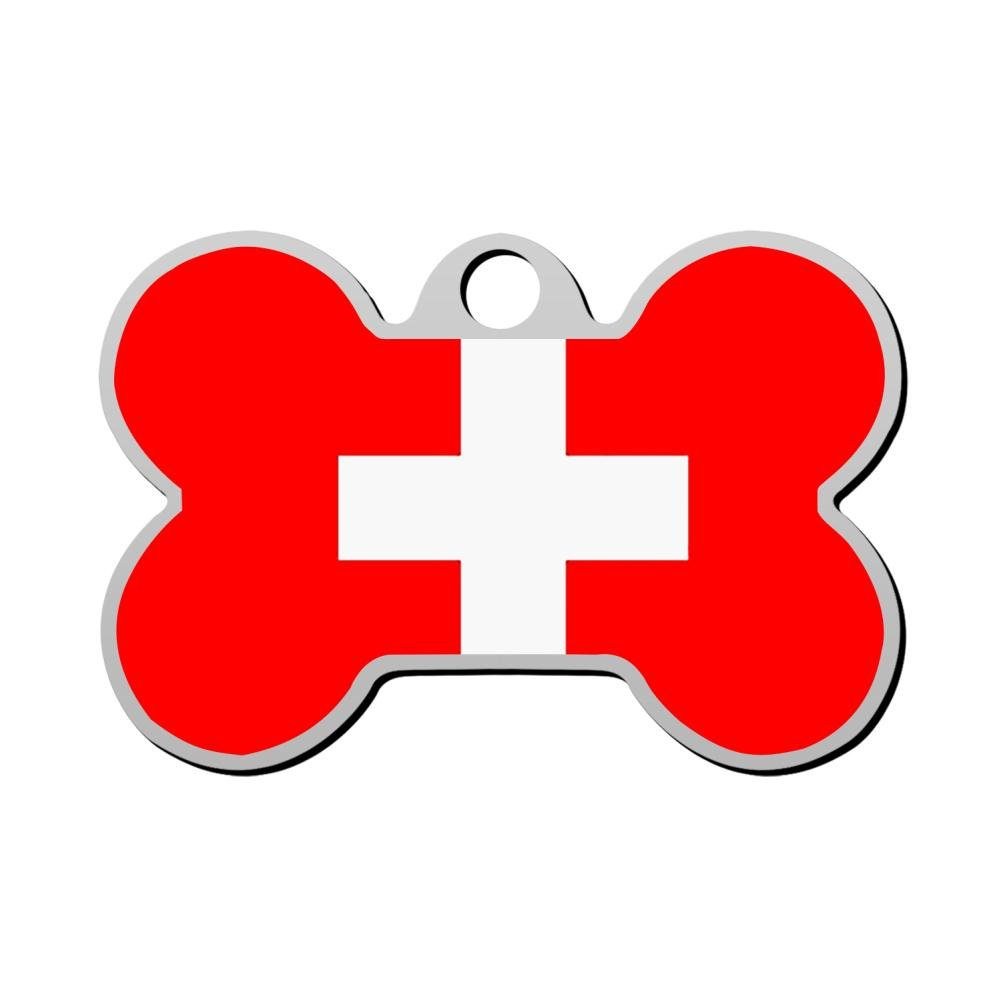 BSARRE Personalized Pet ID Tags for Dogs & Cats Flag of Swiss Double Sided Bone Dog Tag