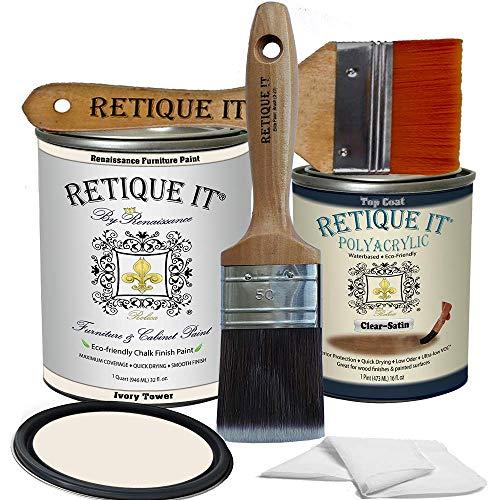 Retique It Chalk Furniture Paint by Renaissance DIY, Poly Kit, 02 Ivory Tower-Antique White, 32 Ounces